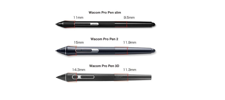 Сравнение Wacom Pro Pen slim, Wacom Pro Pen 2 и Wacom Pro Pen 3D