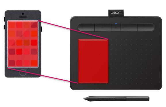 Как изменить отображение (рабочую поверхность) на Wacom Intuos при использовании планшета Android?